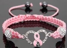 Pink Macrame Breast Cancer Awareness Adjustable Heart Bracelet with Rhinestones