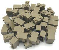 Lego 50 New Dark Tan Bricks 1 x 2 Dot Building Blocks Pieces Parts