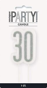 UNIQUE - BLACK AND SILVER AGE 30 - 30TH BIRTHDAY CANDLE