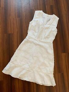 REISS White Floral Lace Daisy Overlayer Short Sleeveless Summer Dress UK 8