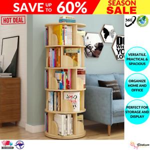Sanctuary 360-degree Rotating 5 Tier Display Shelf Bookcase Organiser (Oak)
