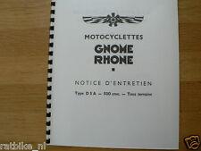G0502 GNOME RHONE---NOTICE D'ENTRETIEN TYPE D5A 500cc---TOUS TERRAINS-MODEL
