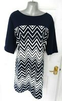 ❤ BHS Ladies Size 22 Navy Blue White Stretch Smart Shift Dress Zig Zag Plus