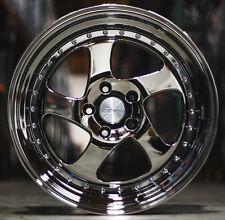 """18"""" ESR SR02 Black Chrome Wheels For Honda S2000 18x8.5 5X114.3 +30 Set 4 Rims"""