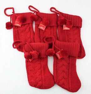 """5-10"""" RED Cable Knit Mini Christmas Stocking Holiday Hanging Decor w/Pom Poms a8"""