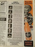 1944 Mission orange soda bottle American little girl Straw Hat fruit basket ad