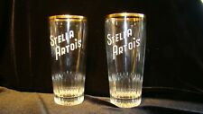 Vintage  Rare Old Logo Stella Artois 25 cl Belgium Beer Glasses Set of Two