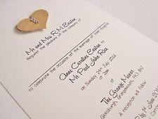 Set of 50 Personalised Handmade Kraft Heart Shabby Chic Wedding Invitations