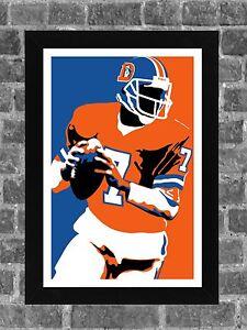 Denver Broncos John A. Elway Portrait Sports Print Art 11x17