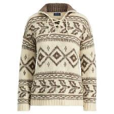 SALE! POLO RALPH LAUREN Nordic Fair Isle lace-up sweater wool/alpaca Medium NWT