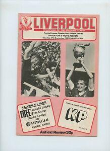 September 1980 Liverpool Reds Brighton & Hove Albion Seagulls Soccer Program