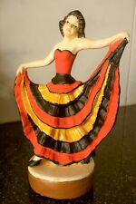 2 ANTIQUE CERAMIC FIGURINE HAND PAINTED LADY FLAMENCO DANCER ART DECO