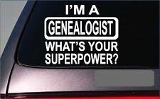 "Genealogist Superpower *G411* decal 8"" sticker ancestry ancestor family tree"