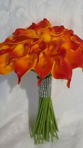 Bride bouquet Calla Lilly Real Touch flowers , orange calla lilly bride bouquet