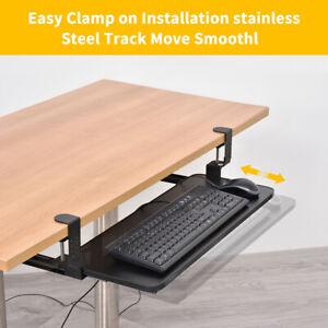 Under Desk Clamp-On Keyboard Tray Sliding Adjustable Drawer Shelf Slides Holder
