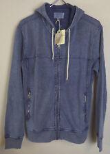 Lucky Brand Grey Label Softest Knitwear Hoodie $79.50  NWT Full Zip Indigo Dyed