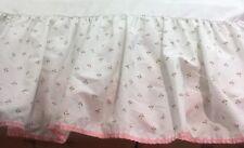 Vtg Laura Ashley Twin Bedskirt Harebell Sprig Castleberry Tulip Pink Green White