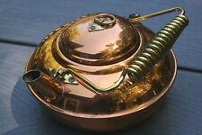 Vntg Copper Kettle Pot Metal Handle Ribbed 1.75 Pints Stunning!