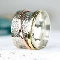 925 Sterling Silver Wide Band & Brass Spinner ring Jewelry Handmade All Size g06