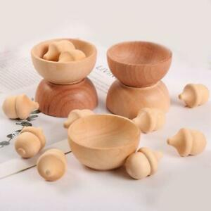 Wooden Acorns Counting & Sorting Kit - Unfinished Wood Set of 20 Acorns 6 Bowls