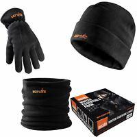Scruffs Work Winter Essentials 3pc Fleece Beanie Hat, Neck Warmer Snood & Gloves