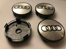 4x Audi 60mm Wheel Centre Caps Steal / Black Emblems Center Caps Base (Black)