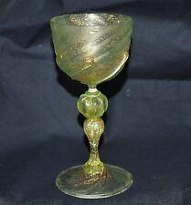 Weinglas Pokal Murano, grün, Goldflitter, 1900