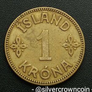 Iceland 1 Krona 1929(h) N-GJ. KM#3.1. One Dollar coin. Christian X. 154000 mintd