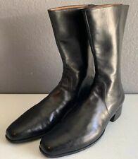 John Lobb Riding Boots Mid Calf Womens Black Leather Sz 8.5 Vtg Rare Handmade