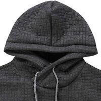 Men Plaid Slim Long Sleeve Hooded Pullover Jumper Sweatshirt Coat Jacket T-shirt
