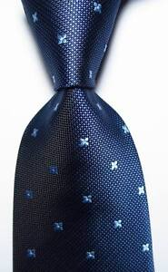New Classic Polka Dot Blue JACQUARD WOVEN 100% Silk Men's Tie Necktie