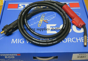 15AK MB15 EURO MIG WELDING TORCH REPLACEMENT GAS GASLESS 3M CABLE w/ SPARE TIPS