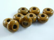 Natural Yellow Jasper Faceted Roundel Large Hole European Beads 8x14xmm 5 Pcs