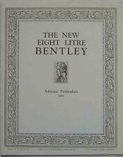 Bentley 8 Litre Advance Particulars 1931 UK Sales Brochure high quality REPRINT