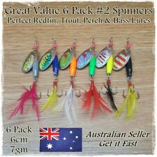 6 x 7g Spinners Spinner Spoon Bait Fishing Lure Metal Lures Hard Baits Redfin