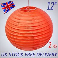 """2 X 12"""" Red Chinese Paper Lantern Lampshade Wedding Party Festival Decoration"""
