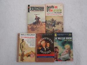 Lot of 5 Paul L. Wellman Vintage Mass Market Paperback Westerns BRONCHO APACHE