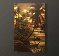 VIETNAMESE LACQUER, LAQUE S/ PANNEAU, LE THANH c. 1960, VIETNAM INDOCHINE, 60x40