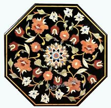 18 Inches Marble Coffee Table Top Inlay Bed Side Table with Carnelian Stone Work