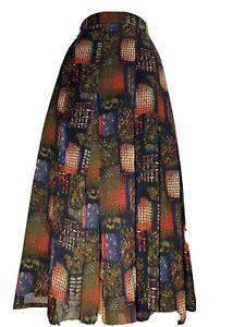 Bianca Wool Blend Vintage Midi Skirt Pleated Splits A-Line Multi Size 42 UK 14