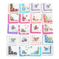 20Pcs Lot Ladies Women Vintage Cotton Quadrate Hankies Floral Handkerchief
