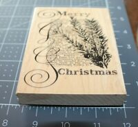 Penny Black CHRISTMAS TEXT 4115K Rubber Stamp Holidays Christmas Used