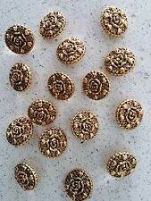 049b71129f7 Lot of 16x Brand New 21mm Round Gold Flower Vintage Sewing Buttons