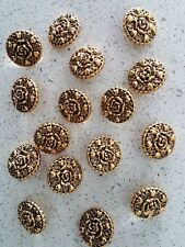 Lot of 16x Brand New Large 25mm Round Gold Flower Vintage Sewing Buttons
