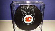 THEO FLEURY Calgary Flames AUTOGRAPHED Signed Hockey Puck NHL w/ COA
