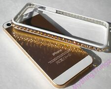 For iPhone 5/S GOLD/WHITE Frame Cover Bumper w/SWAROVSKI ELEMENTS Bling Crystals
