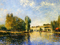 Oil painting Alfred Sisley - The Loing at Moret impressionism landscape canvas