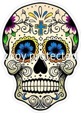 Skull Sugar Blue Cross 100mm high Bumper Sticker Day of the Dead Car Decal Ute