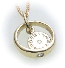 Set Christening Ring Watch & Chain Brilliant 0,03 Ct Real 585 Gold 14 Diamond Q