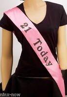Sash 21 TODAY pink satin with black lettering and diamantes 9cm wide